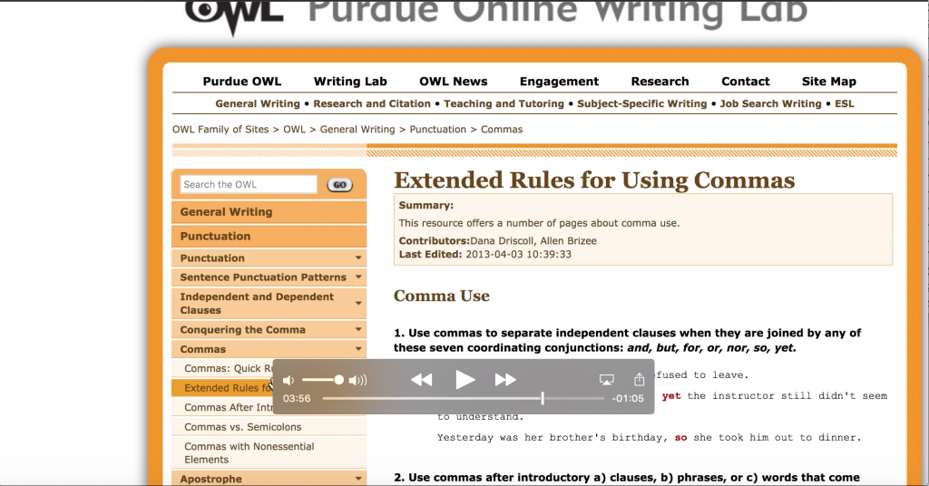 The image shows a screenshot from the site OWL at Purdue. The page provided instruction on using commas.